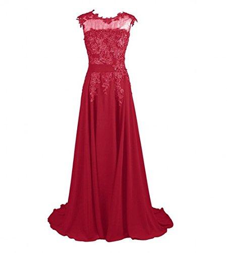 Prom Red Evening Chiffon Long Beauty Women's Dark Dresses AK Appliques wYOSTzA