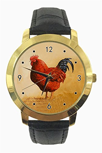 Duseng Rhode Island Red Rooster Custom Fashion Ladies Belt Gold Watches Japan Quartz Movement Sports ()