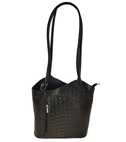 FreyFashion - Made in Italy - Bolso mochila  para mujer Kroko Schwarz