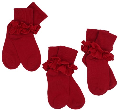 Jefferies Socks Little Girls'  Misty Ruffle Turn Cuff  Socks (Pack of 3), Red, Small