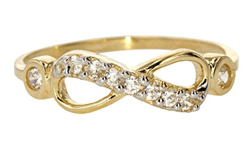 10k Yellow Gold Infinity Knot White CZ Forever Symbol Ring Size (Cubic Zirconia Knot Ring)