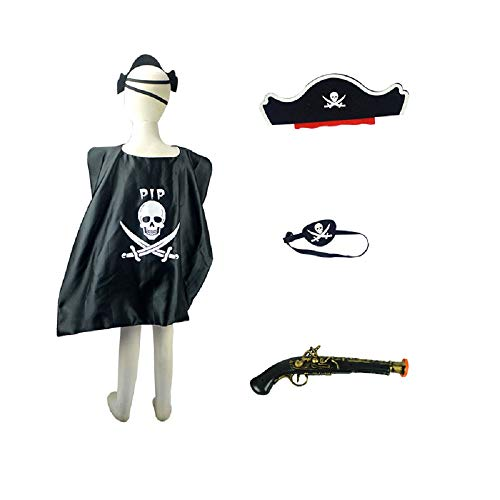 Child Pirate Party Set - Pirate Cloak, Pirate Hats, Eye Patch, Gun, Halloween Pirate Captain Costume for Pirate Theme Party
