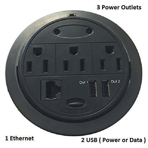 Powertap ojal computadora Potencia centro de datos, 3 Power / 1 Ethernet / 2 USB ( Power or Data )