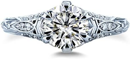 Kobelli Moissanite (HI) 6-Prong Antique Engagement Ring 1 1/6 CTW 14k White Gold