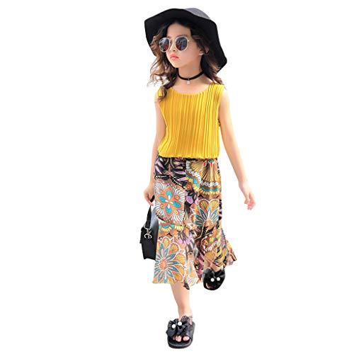 QueenBBGirls Kids Pleated Vest Floral Fishtail Skirt 2 Pieces Set Clothes Children Skirt Suit Outfits Clothes Yellow