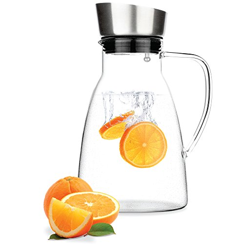 Medium Ceramic Pitcher - Tealyra - Large Glass Carafe 58 ounce - Heat Resistant - Stovetop Safe - Pitcher - Teapot - Stainless Steel Drip-free Lid - Hot or Iced - Tea Water Juice Beverage - Decanting Serving Wine - 1700ml