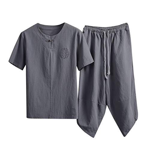 (Cotton Linen Outfits Sets for Men, Casual Beach Holiday Solid Color Tang Suits Frog-Button Shirt+Yoga Cropped Pants by-Leegor Gray)
