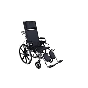"""Drive Medical Viper Plus GT Full Reclining Wheelchair, Detachable Desk Arms, 16"""" Seat"""