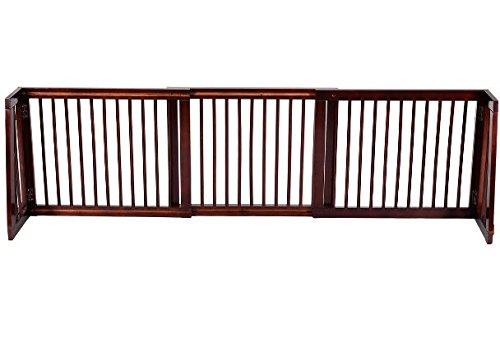 K&A Company Folding Adjustable Free Standing 3 Panel Wood Fence Gate Pet Dog Safety Slide Barrier Doorway Opening Security Doorways Home Stair