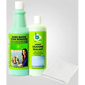 Hard Water Stain Remover(20oz) Sealant(16oz) & Magic Cloth.For tough Hard Water Stains caused by mineral deposits, acid rain, alkali.Cleans & Seals Glass Metal Boats Tile Porcelain Fiberglass & more!