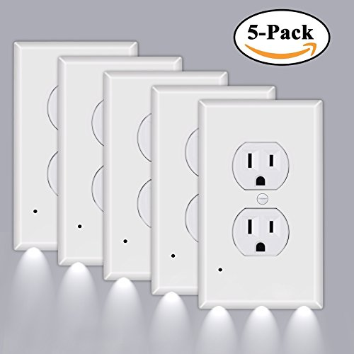 Outlet Lights Cover Wall Plates LED (5-Pack) - Tensun Night Light Outlet Plate Electrical Outlet Switch Plate and Auto Sensor, No Batteries Or Wires, Easy Install and Child Safe (Duplex, White)