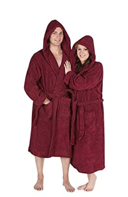 Del Rossa Women's Turkish Terry Cloth Robe, Thick Hooded Bathrobe