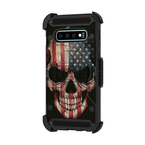 (TurtleArmor | Compatible for Samsung Galaxy S10 Case | S10 Case | G973 [Armor Pro] Full Body Protection Armor Hybrid Kickstand Rugged Cover Holster Belt Clip Case - US Flag Skull)
