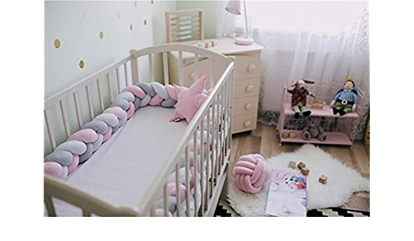 Length 200cm Height 12cm Solid Color Infant Soft Pad Braided Crib