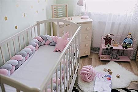 Length 200cm Height 12cm Solid Color Infant Soft Pad Braided Crib Bumper Knot Pillow Cushion Cradle Decor for Baby Girl and Boy Hotin