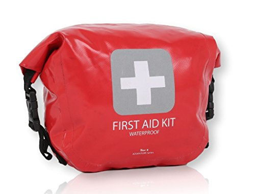 Waterproof First Aid Kit - 175 Pieces - Durable Vinyl Roll Top Dry Bag - Packed with hospital grade medical supplies for emergency and survival situations. Ideal for Boating, Camping, Sports, Home