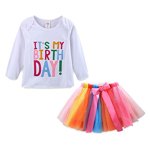 Mud Kingdom Little Girls Birthday Outfits 6 Long Sleeve Shirt and Skirt Set, White, 6(48-51 ins./47-58 lbs.)