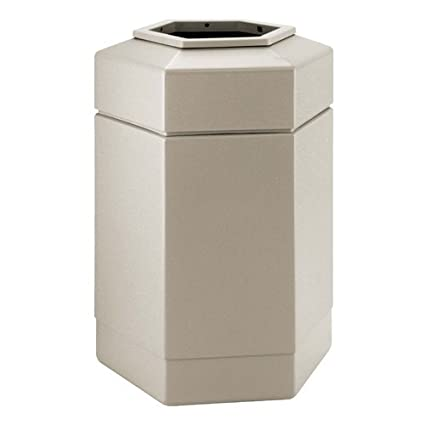 PolyTec 30 Gallon Hex Waste Container Color: Beige