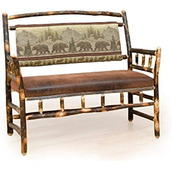 Magnificent Amazon Com Rustic Hickory Upholstered Hall Bench Bear Gmtry Best Dining Table And Chair Ideas Images Gmtryco