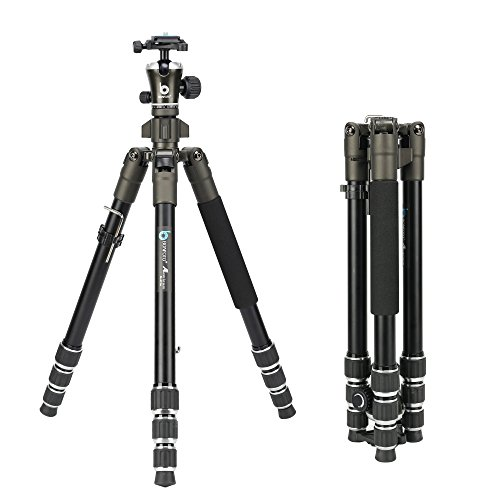 BONFOTO 671A Travel Aluminum Camera Tripod, Lightweight With Two 1/4'' Quick Release Plates Ball Head For Canon/Nikon/Sony/Samsung/Panasonic Olympus DSLR by BONFOTO