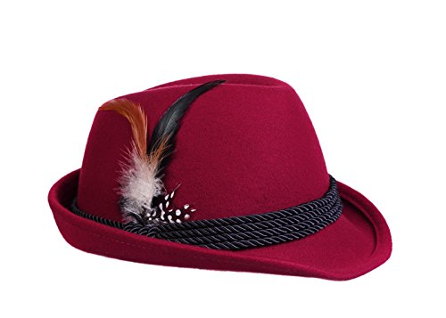 Feather Trim Red Wool Hat - Alpine Holiday Oktoberfest Wool Bavarian Fedora Hat - Red - Large (7 1/4 to 7 3/8)