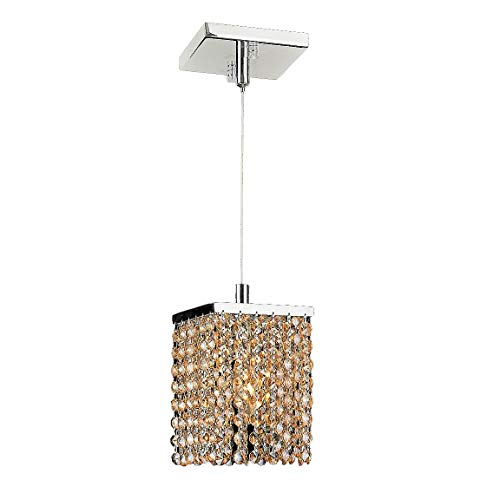 Worldwide Lighting Prism Collection 1 Light Chrome Finish and Amber Crystal Square Mini Pendant 5