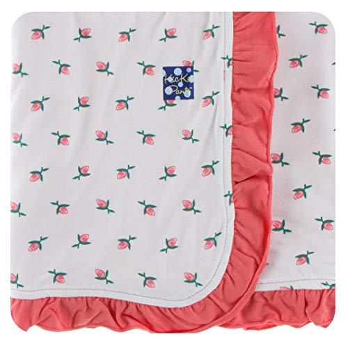 Kickee Pants Custom Print Ruffle Toddler Blanket - Natural Rose Bud with English Rose ()