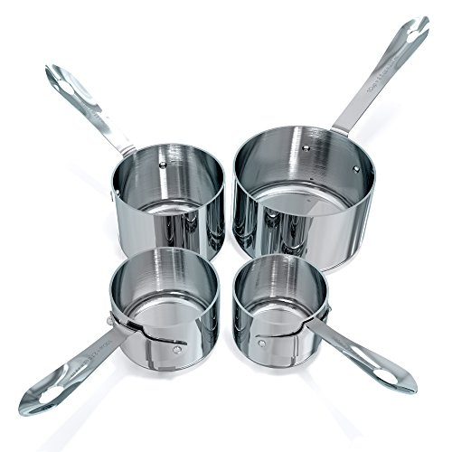 Premium Grade Nesting Stainless Steel Measuring Cups, Set of 4. Engraved US Measurements for Liquid and Dry Ingredients. Sturdy Stackable and Heavy Duty Metal Set. Perfect Housewarming Gift.