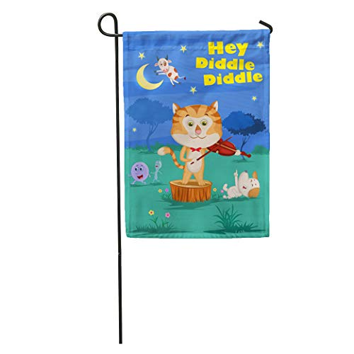 - Semtomn Garden Flag Cat Hey Diddle Kids English Nursery Rhymes Book in Fiddle Home Yard House Decor Barnner Outdoor Stand 28x40 Inches Flag
