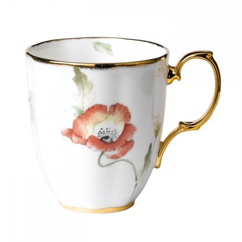 Royal Doulton-Royal Albert 100 Years Poppy Flower Mug Bone China with hand painted 22-carat gold stippling trim