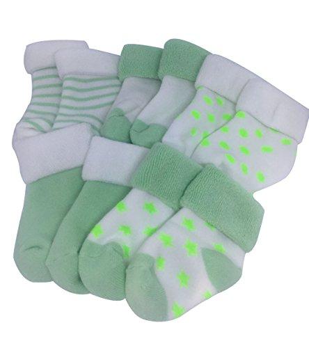 e44bd8d3d95af Liangpin Newborn Baby Towelling Socks Fall Winter Wear 0-2.5 Years (5 Pack)  GreenShoe 0-3 (0-6 Month)