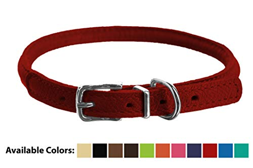 Dogline Soft and Padded Rolled Round Leather Collar for Dogs W1/3