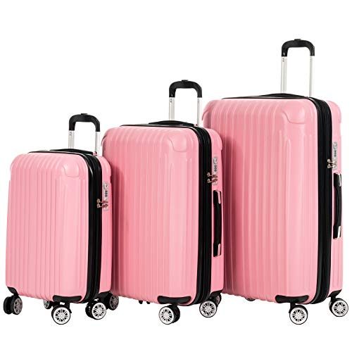 Murtisol 3 Pieces ABS+PC Luggage Sets, Expandable+TSA ()