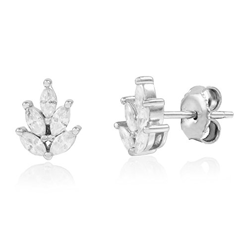Rhodium Plated 925 Sterling Silver Leaf Marquise Cubic Zirconia Stud Earrings ()