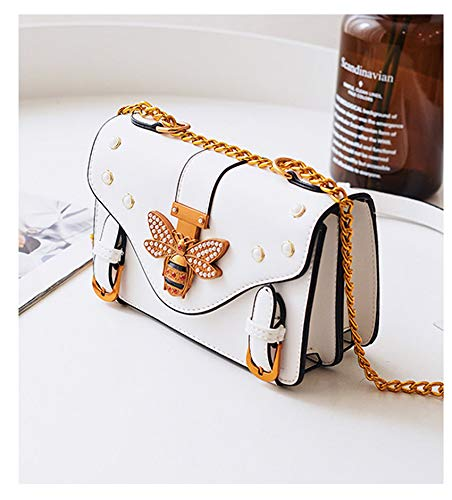 Margalet Small Leather Handbag Cross-Body ins Super hot Chain Bag Girl bee Bag-White