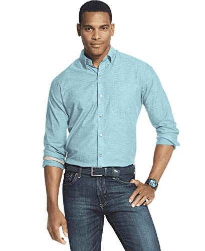 (Van Heusen Men's Air Long Sleeve Shirt, Turquoise Wing Teal X-Large)