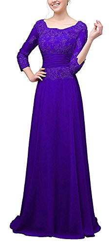 LOVING HOUSE Women's Lace Appliques Mother Of The Bride Dresses With Sleeves Long Formal Evening Dresses P025