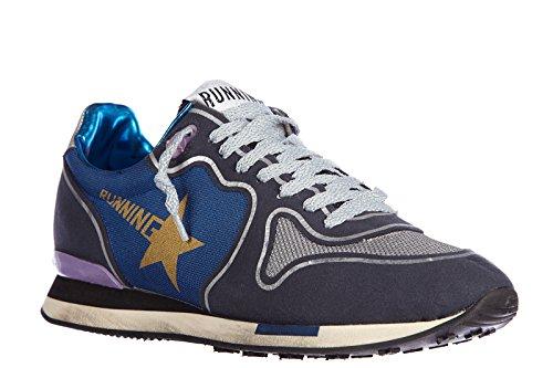 Golden Goose zapatos zapatillas de deporte mujer en piel nuevo running blu