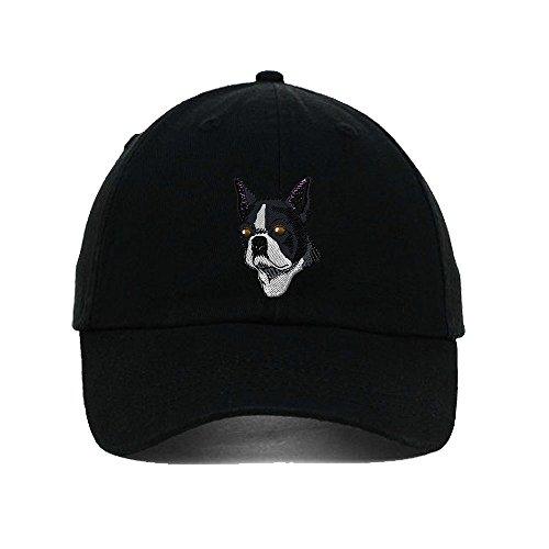 Boston Terrier Head Embroidery Twill Cotton 6 Panel Low Profile Hat Black