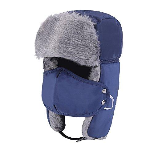 Prooral Nylon Russian Style Winter Ear Flap Hat for Men Women (Navy Blue) …