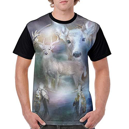 farg Fair Deer 3D Printed Casual Short Sleeve T-Shirts Tees ()