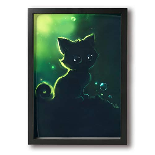 Warm-Tone Art Night Cat Poster Frame Wall Art Living Room Dinning Room Bedroom Home Office Modern Wall Decor - 9.4x13in]()