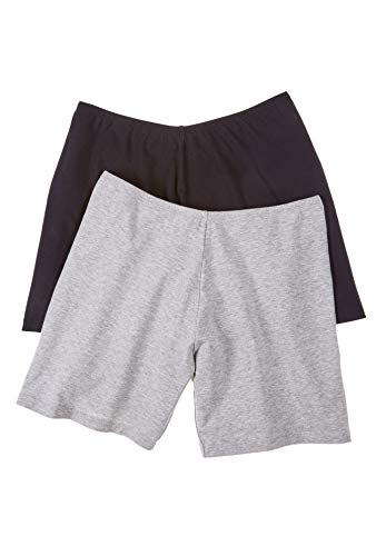 - Comfort Choice Women's Plus Size 2-Pack Stretch Cotton Boxer Boyshort - Black Grey Pack, 10