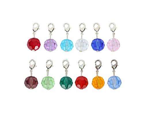 (2pcs Clip On Dangle Birthstone Charms 8mm Austrian Round Crystal Pendants with Silver Lobster Clasp 12B2R8-L10)