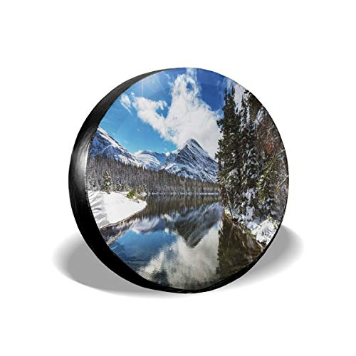 GULTMEE Tire Cover Tire Cover Wheel Covers,Tranquil View of Glacier National Park in Montana Water Reflection Quiet Peaceful,for SUV Truck Camper Travel Trailer Accessories(14,15,16,17 Inch) 14