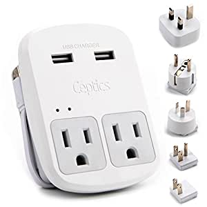 Ceptics World Travel Adapter Kit - 2 USB + 2 US Outlets, Includes Adapter for Europe, UK, China, Australia, Japan- Perfect for Laptop, Cell Phones & Other Dual Voltage Devices