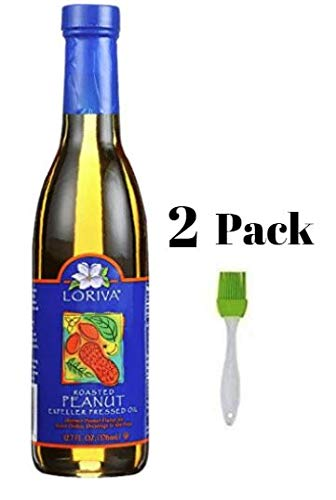 Loriva Peanut Oil Pure Roasted Expeller Pressed Oil, 12.7 oz (Pack of 2) Bundled with Silicone Basting Brush in a Prime Time Direct Sealed Bag by Loriva