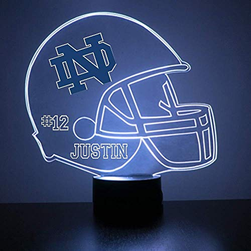 Mirror Magic Notre Dame Fighting Irish Light Up LED Lamp - Football Helmet Night Light for Bedroom with Free Personalization - Features Licensed Decal and Remote