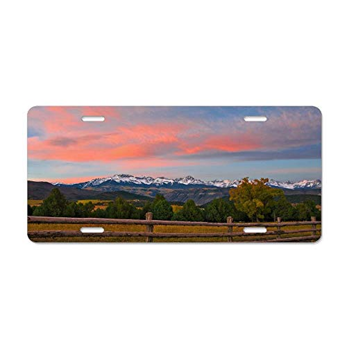 FloralFlames Sunrise Over Sneffels Range Custom Personalized License Plate Cover Vanity, Front License Auto Car Tag, Novelty Car Accessories