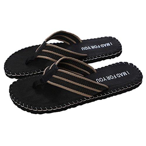 Holeider Herren Zehentrenner Sommer Schuhe Sandalen Schwarz